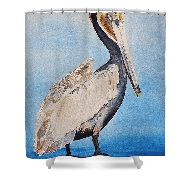 Pelican On Post Shower Curtain
