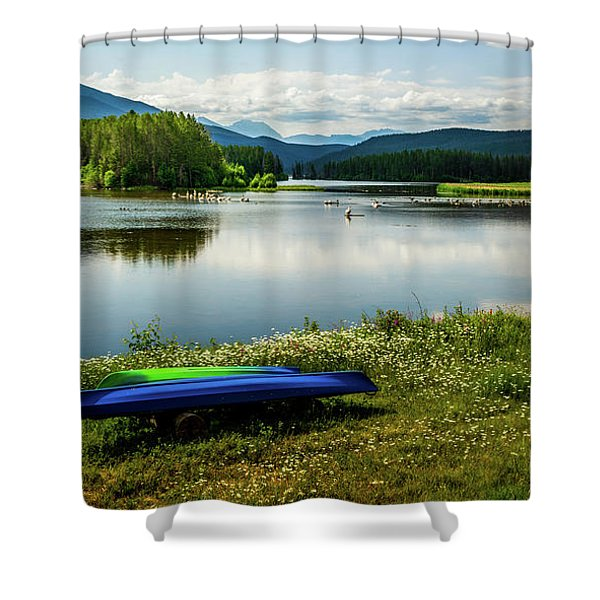 Pelicans At Shadow Mountain Lake Shower Curtain