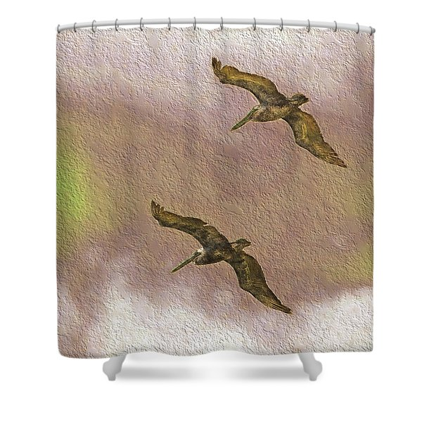 Pelicans On Cave Wall Shower Curtain