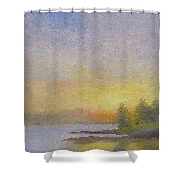 Pemaquid Beach Sunset Shower Curtain