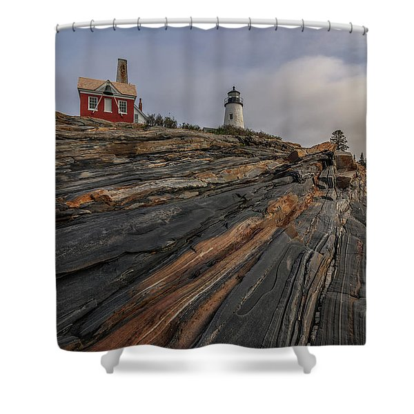 Pemaquid Point Cliffs Shower Curtain