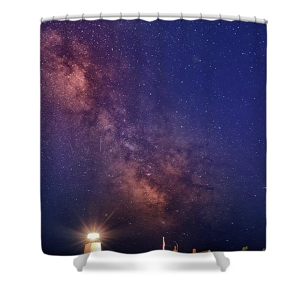 Pemaquid Point Lighthouse And The Milky Way Shower Curtain