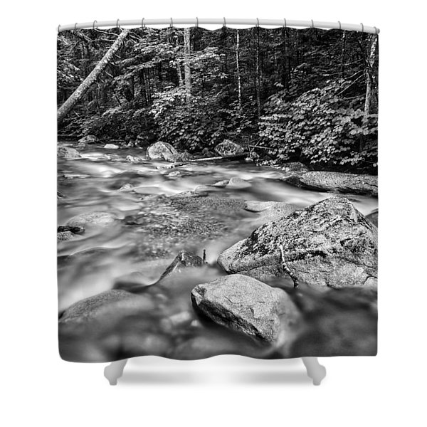 Pemi River Black-white Shower Curtain