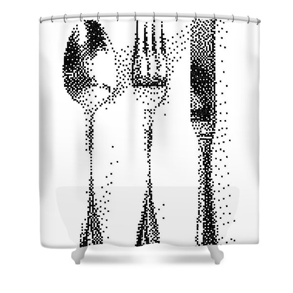 Pen Pixel Cutlery Shower Curtain