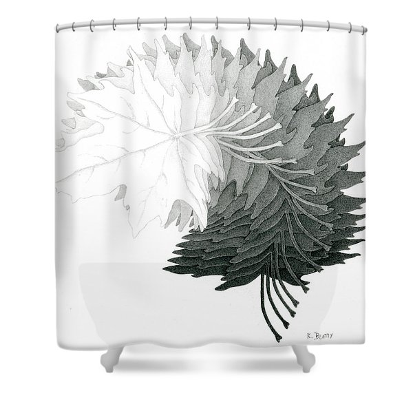 Pencil Drawing Of Maple Leaves Shower Curtain