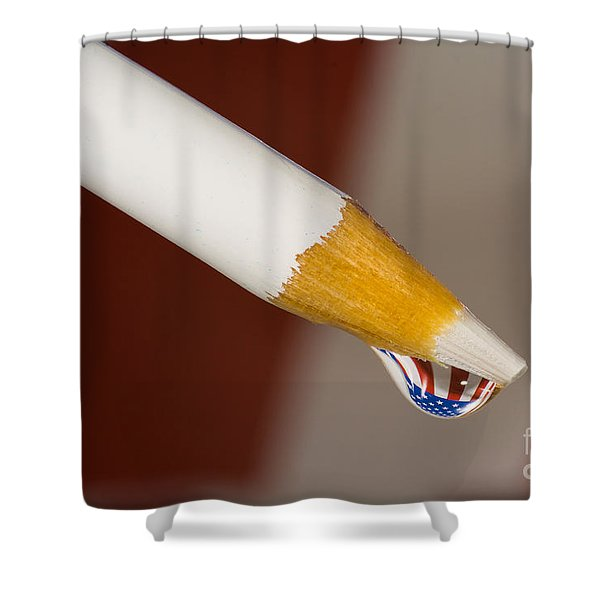 Pencil Flag Drop Shower Curtain
