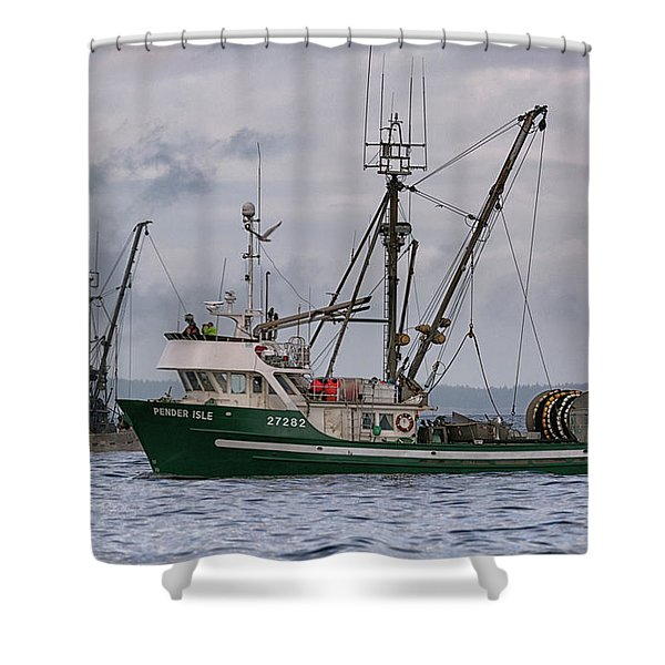Shower Curtain featuring the photograph Pender Isle And Santa Cruz by Randy Hall