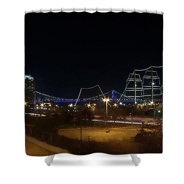 Shower Curtain featuring the digital art Penn's Landing by Leeon Photo