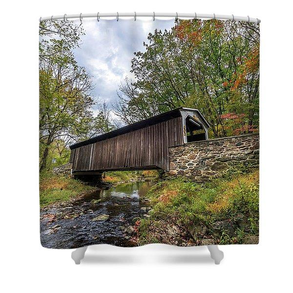 Pennsylvania Covered Bridge In Autumn Shower Curtain
