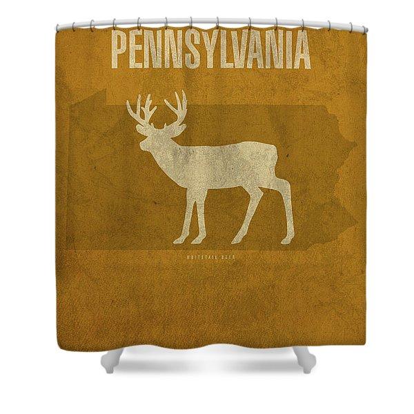Pennsylvania State Facts Minimalist Movie Poster Art Shower Curtain