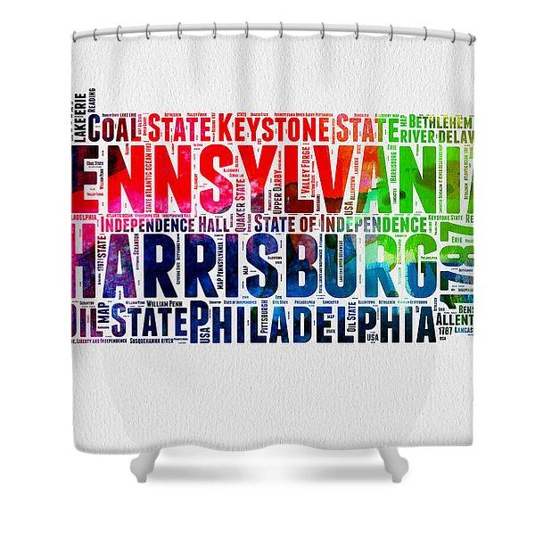 Pennsylvania Watercolor Word Cloud Map  Shower Curtain