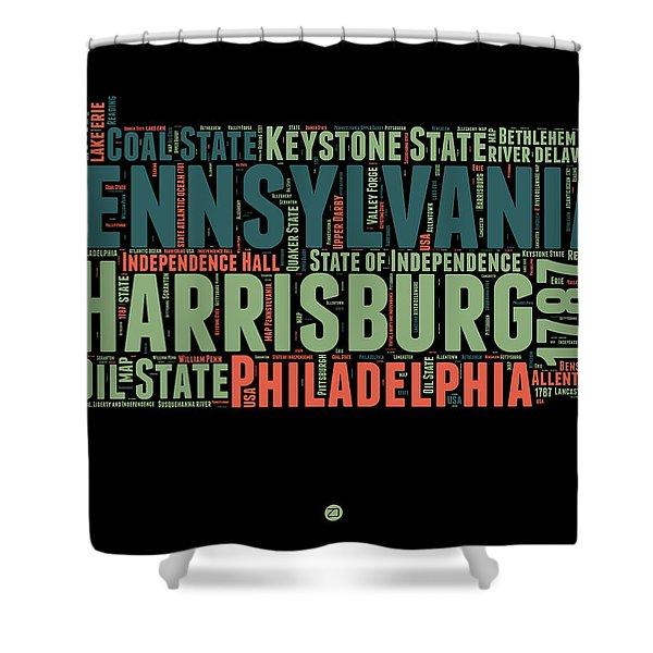 Pennsylvania Word Cloud Map 1 Shower Curtain