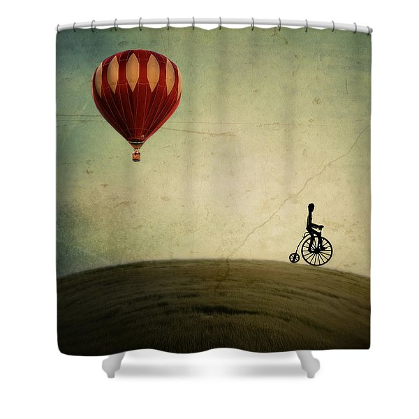 Penny Farthing For Your Thoughts Shower Curtain