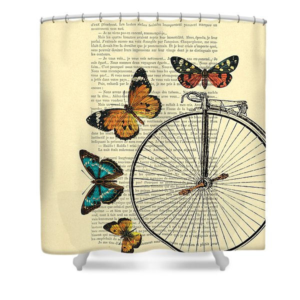 Penny Farthing With Butterflies Shower Curtain