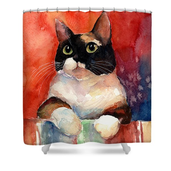 Pensive Calico Tubby Cat Watercolor Painting Shower Curtain