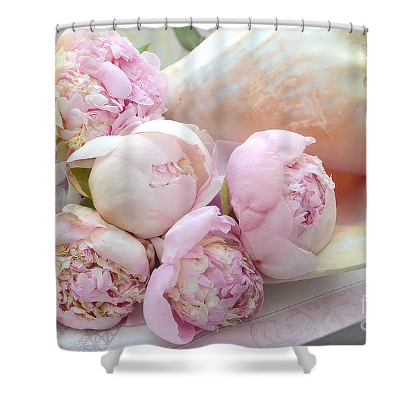 Shabby Chic Pink Peonies  - Dreamy Pink Yellow Peonies In Beach Shell - Dreamy Peony Decor Shower Curtain