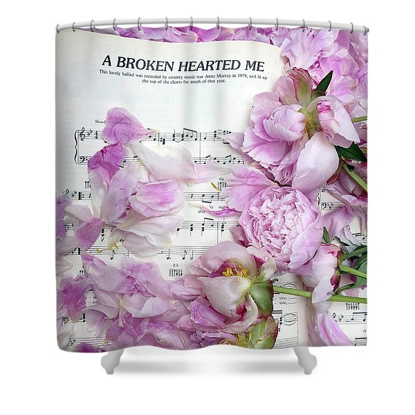 Peonies On Music Sheet - Pink Peonies Shabby Chic Inspirational Print - Peony Home Decor Shower Curtain