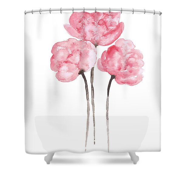 Peony Bouquet Anniversary Woman Art Print, Pink Paper Flower Watercolor Painting Shower Curtain