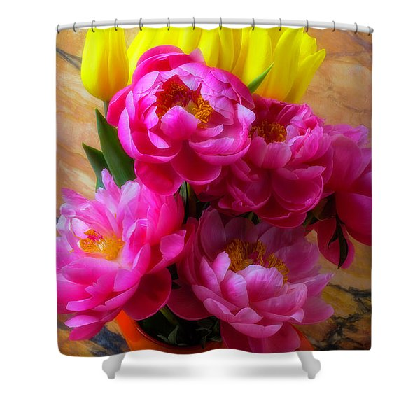 Peony's And Tulips In Pitcher Shower Curtain