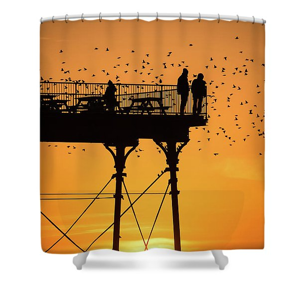 People On The Pier Sunset And Starlings In Aberystwyth Wales Shower Curtain