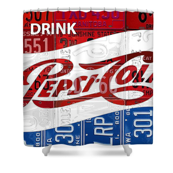 Pepsi Cola Vintage Logo Recycled License Plate Art On Brick Wall Shower Curtain
