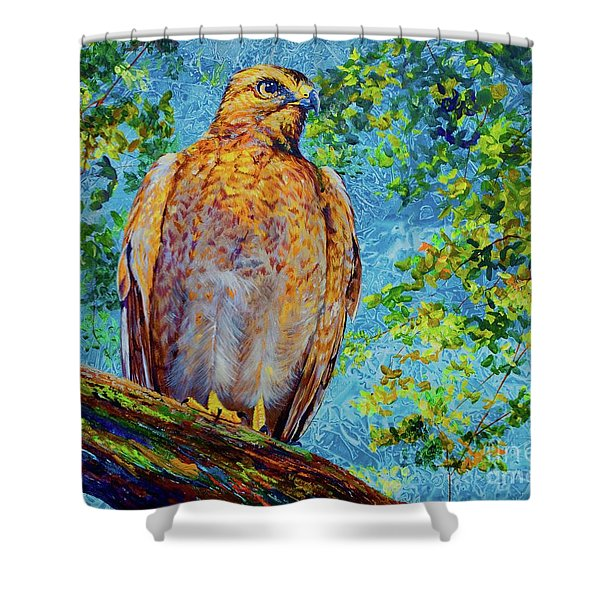 Perched Hawk Shower Curtain