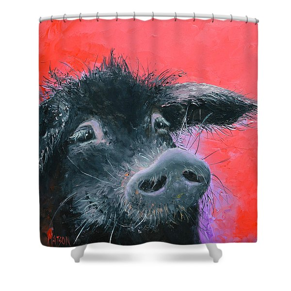Percival The Black Pig Shower Curtain