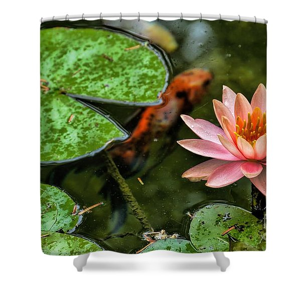 Perfect Beauty And Koi Companion Shower Curtain