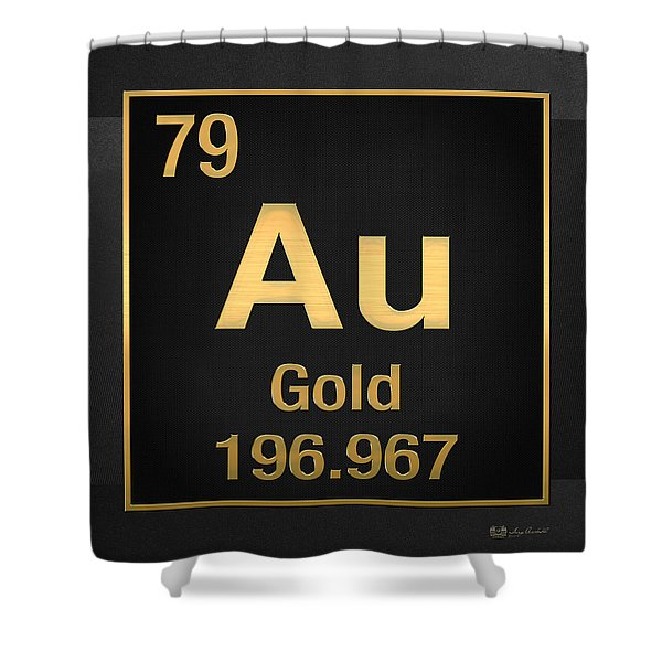 Periodic Table Of Elements - Gold - Au - Gold On Black Shower Curtain