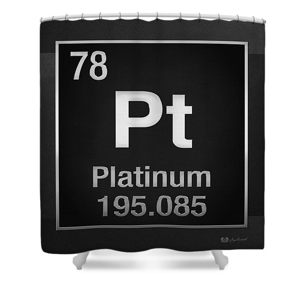 Periodic Table Of Elements - Platinum - Pt - Platinum On Black Shower Curtain