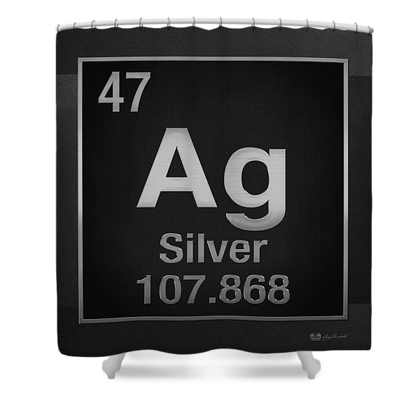 Periodic Table Of Elements - Silver - Ag - Silver On Black Shower Curtain