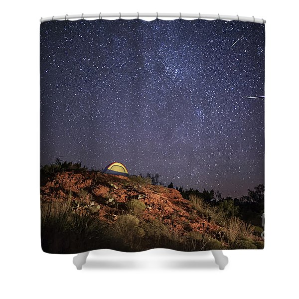 Perseids Over Caprock Canyons Shower Curtain