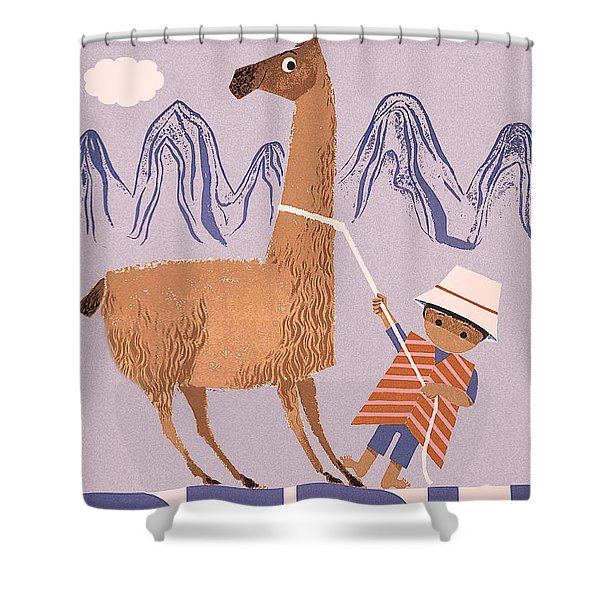 Peru, Boy With Lama, Vintage Travel Poster Shower Curtain