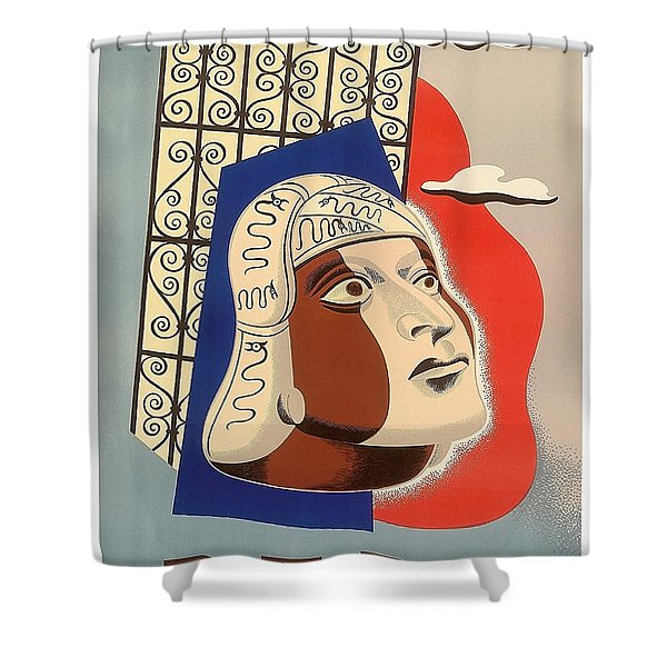 Peru, Traditional Art, Vintage Travel Poster Shower Curtain