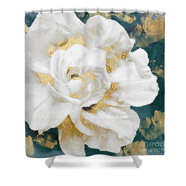Petals Impasto White And Gold Shower Curtain