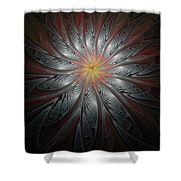 Petals In Pewter Shower Curtain
