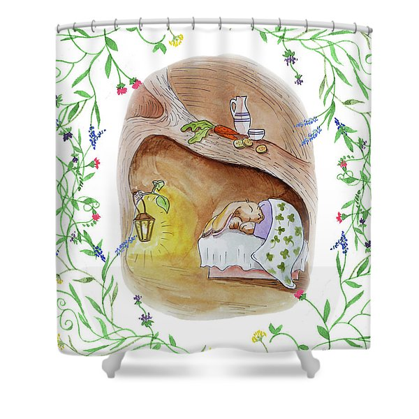 Peter Rabbit Watercolor Illustration IIi Shower Curtain