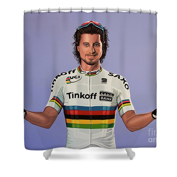 Peter Sagan Painting Shower Curtain
