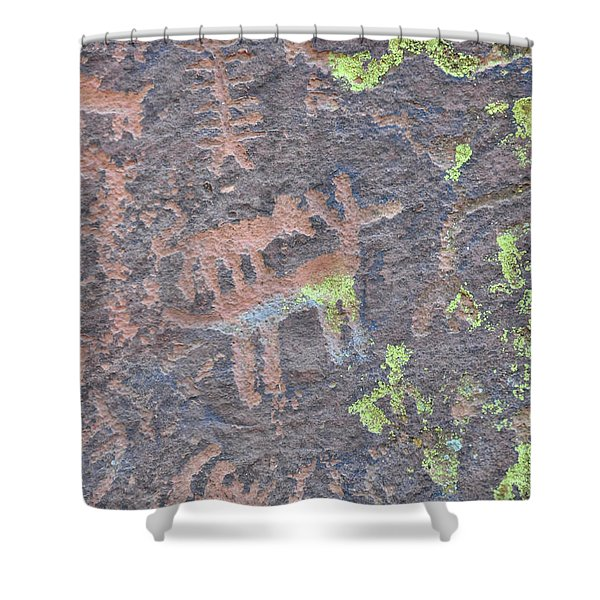 Petroglyph Wolf Attack Shower Curtain