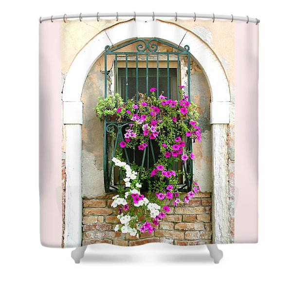 Petunias Through Wrought Iron Shower Curtain