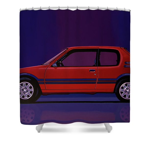 Peugeot 205 Gti 1984 Painting Shower Curtain