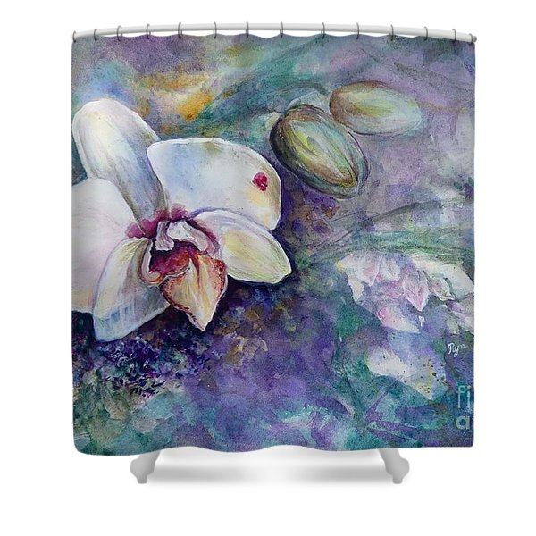 Phalaenopsis Orchid With Hyacinth Background Shower Curtain