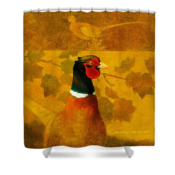 Pheasant In Yellow Shower Curtain