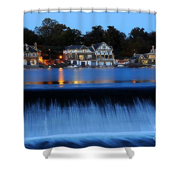 Philadelphia Boathouse Row At Twilight Shower Curtain
