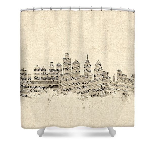 Philadelphia Pennsylvania Skyline Sheet Music Cityscape Shower Curtain