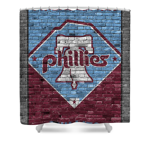 Philadelphia Phillies Brick Wall Shower Curtain