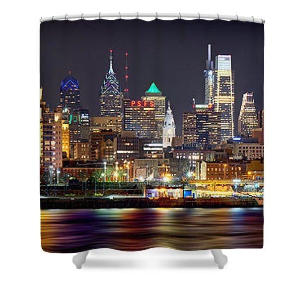 Philadelphia Philly Skyline At Night From East Color Shower Curtain