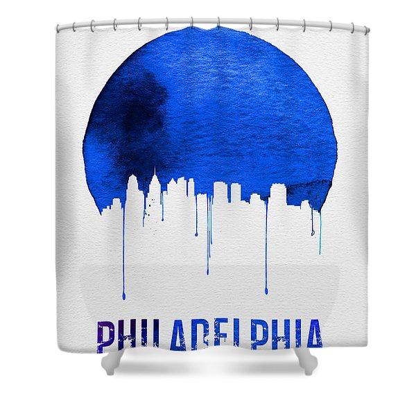 Philadelphia Skyline Blue Shower Curtain