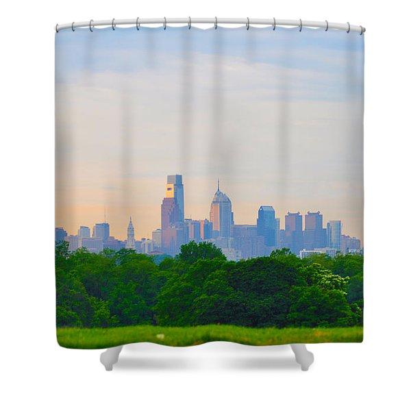 Philadelphia Skyline From West Lawn Of Fairmount Park Shower Curtain by Bill Cannon