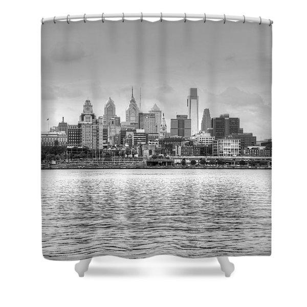 Philadelphia Skyline In Black And White Shower Curtain